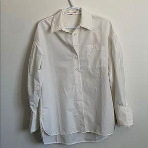 Button down lamb sleeve white shirt